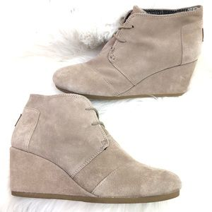 TOMS Taupe Suede Lace-Up Desert Wedge Bootie